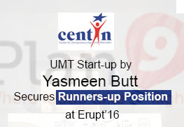 UMT Start-up by Yasmeen Butt Secures Runners-up Position at Erupt 16