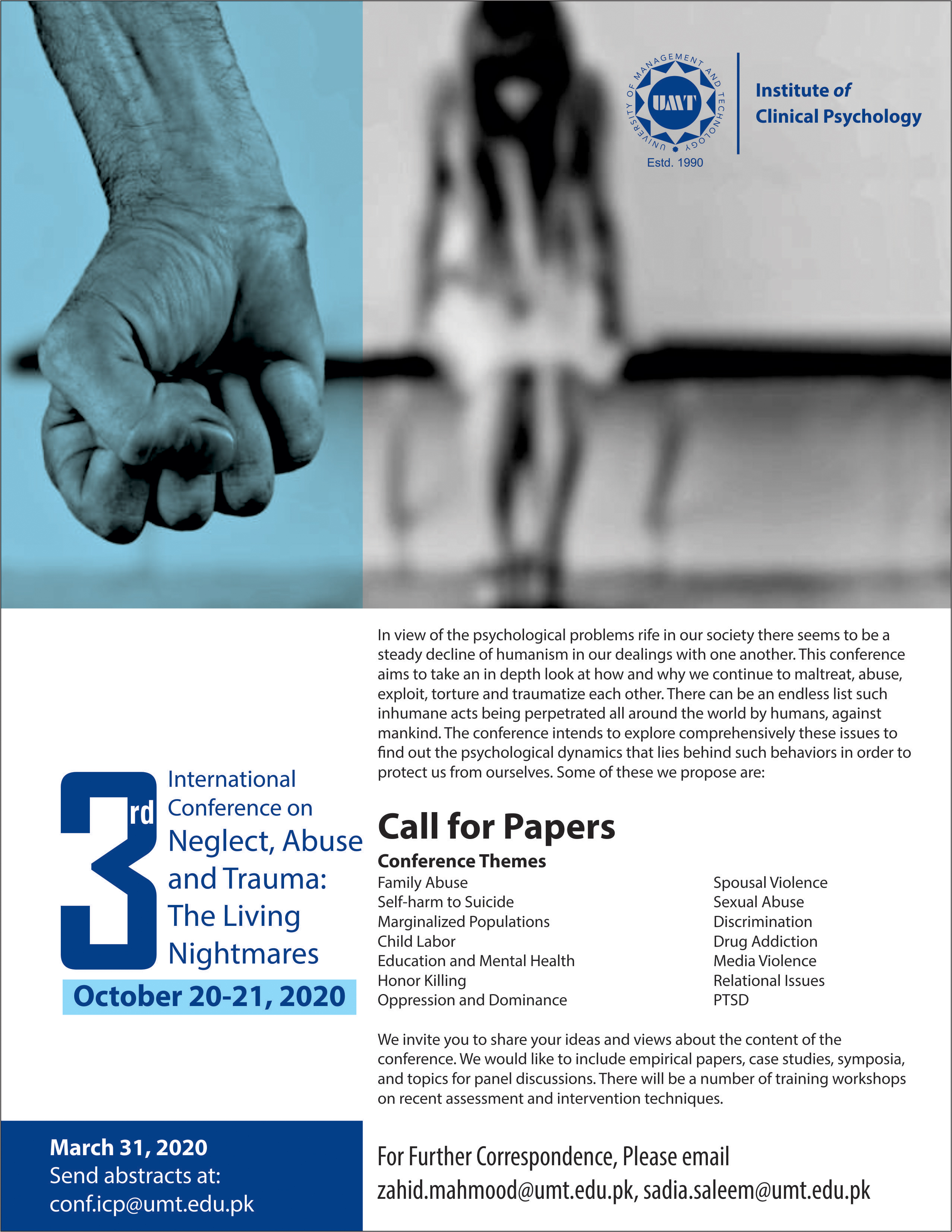 3rd International Conference on Neglect, Abuse and Trauma: The Living Nightmares (October 20-21, 2020)